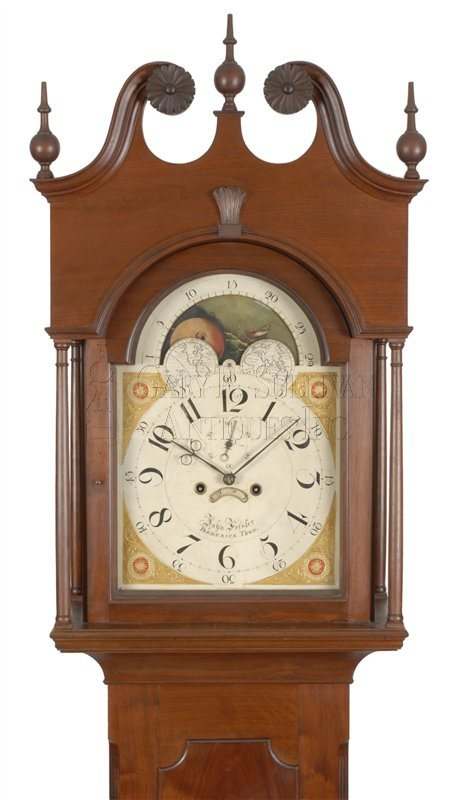 John Fessler antique Baltimore tall case clock hood