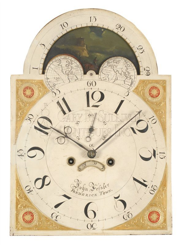 John Fessler antique Baltimore tall case clock detail