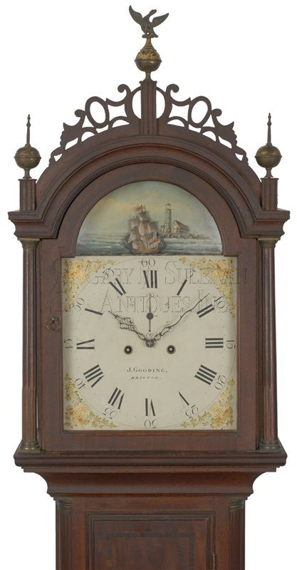Josiah Gooding antique Rhode Island Federal tall clock hood