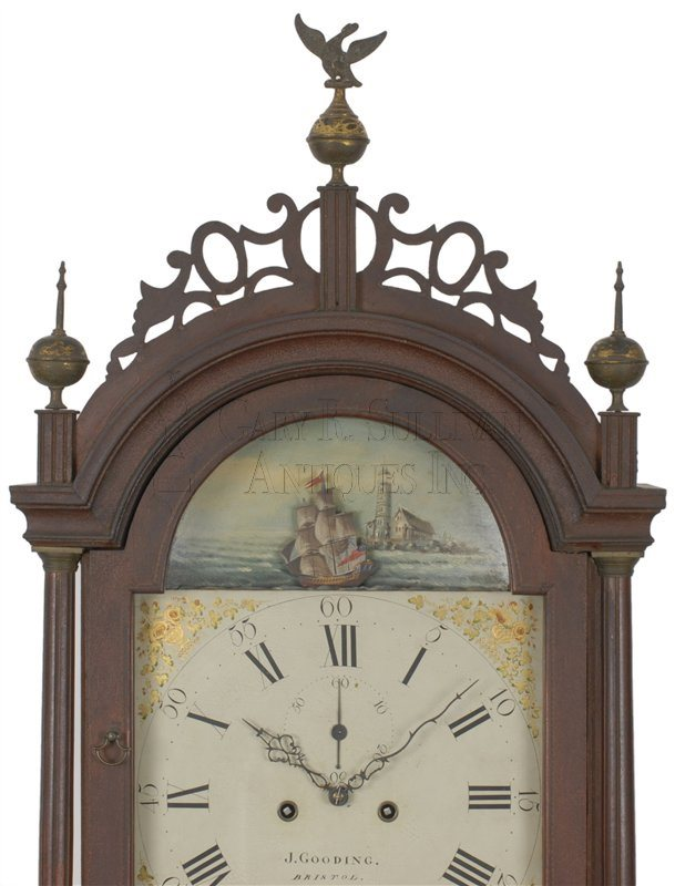 Josiah Gooding antique Rhode Island Federal tall clock detail