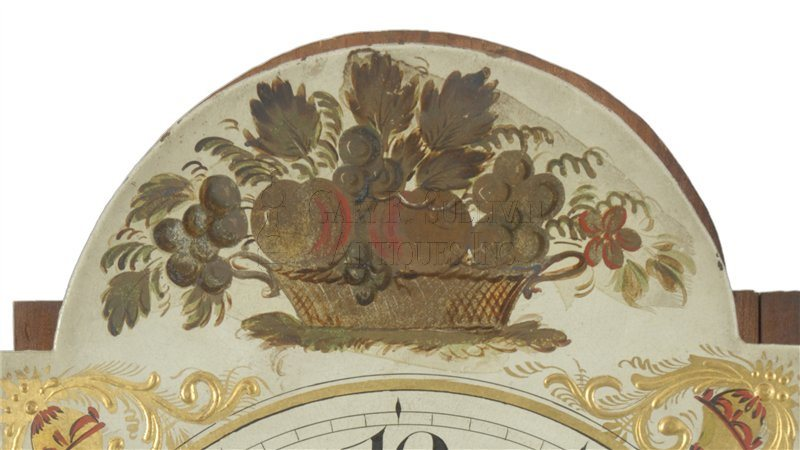 Joshua Wilder antique dwarf clock detail