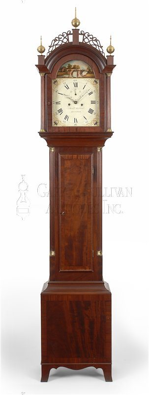 Aaron Willard labeled antique tall case clock