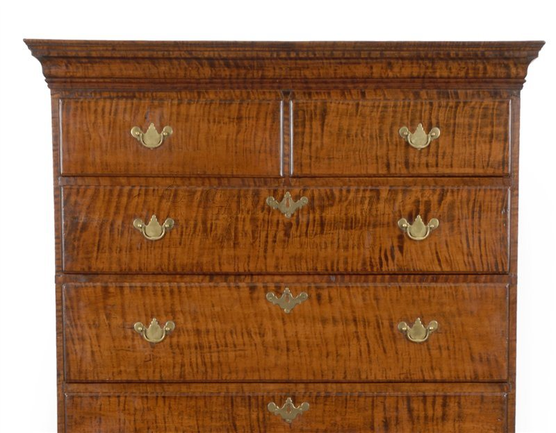 Queen Anne antique highboy detail