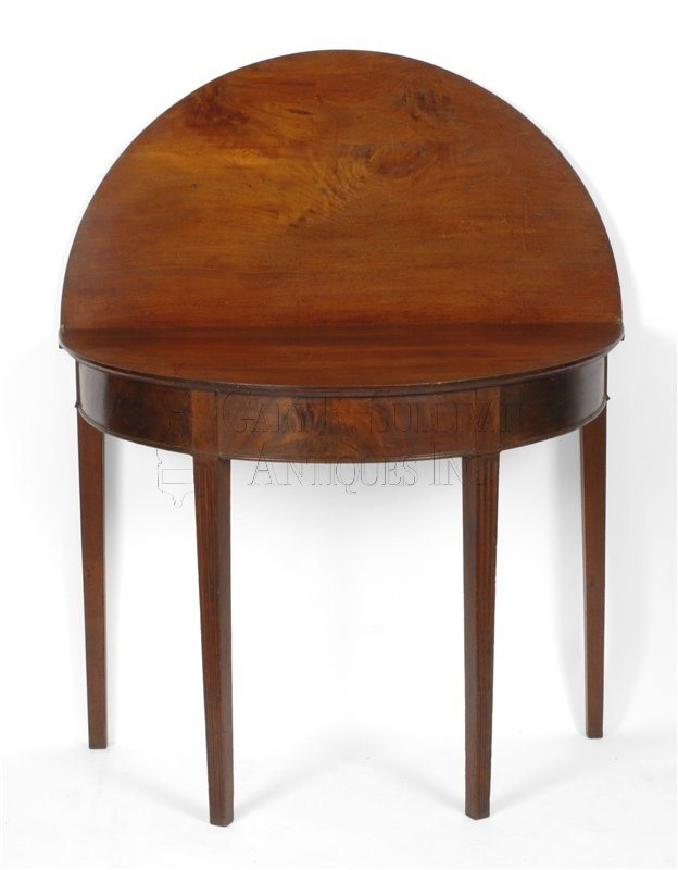 antique Newport demi-lune games table