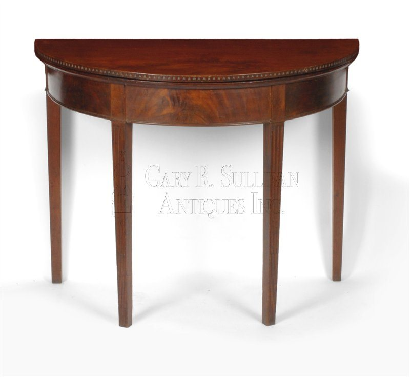 antique Newport demi-lune games table closed