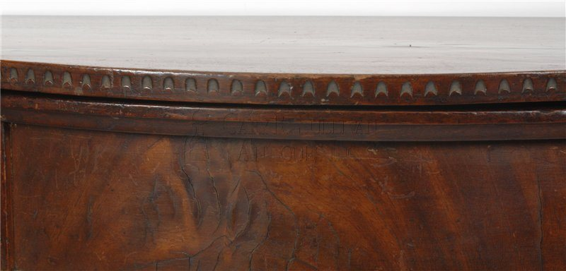 antique Newport demi-lune games table detail