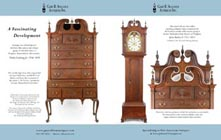 Ad for matching antique high chest and related John Bailey tall case clock