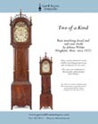 Ad for a matching antique tall case clock and dwarf clock by John Bailey