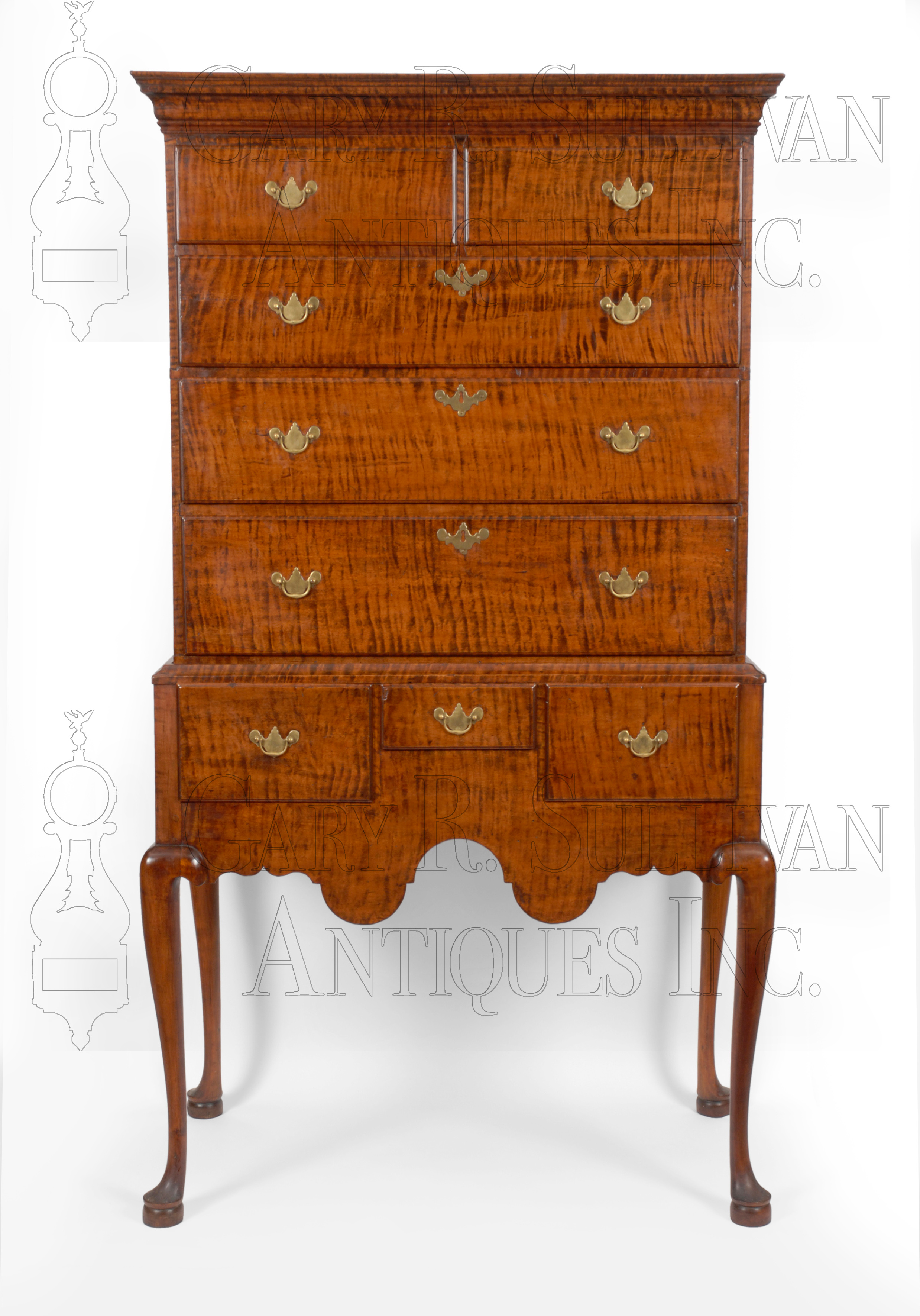 Queen Anne Tiger Maple Highboy Southern NH Furniture