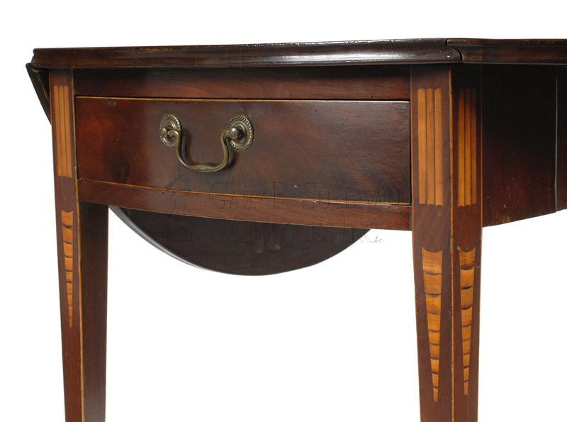 antique Federal Pembroke drop leaf table detail. Federal inlaid Pembroke table  NY  circa 1790   Clocks 11021