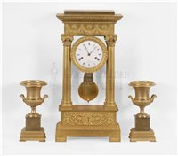 French Classical gilt bronze clock garniture