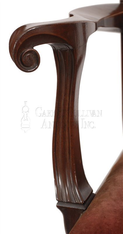 Philadelphia Chippendale armchair arm