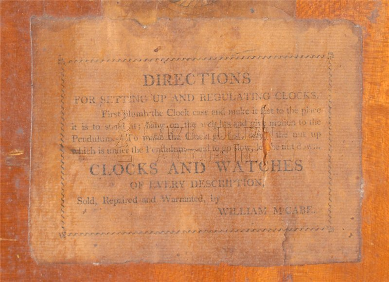 William McCabe Roxbury case clock set up label