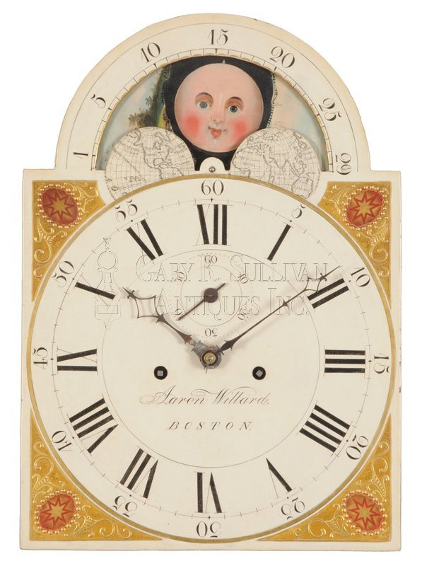 Aaron Willard Tall Clock dial back