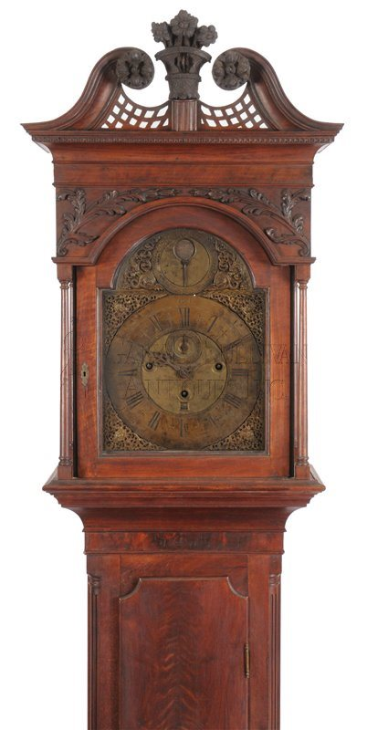 Pennsylvania Chippendale tall clock hood