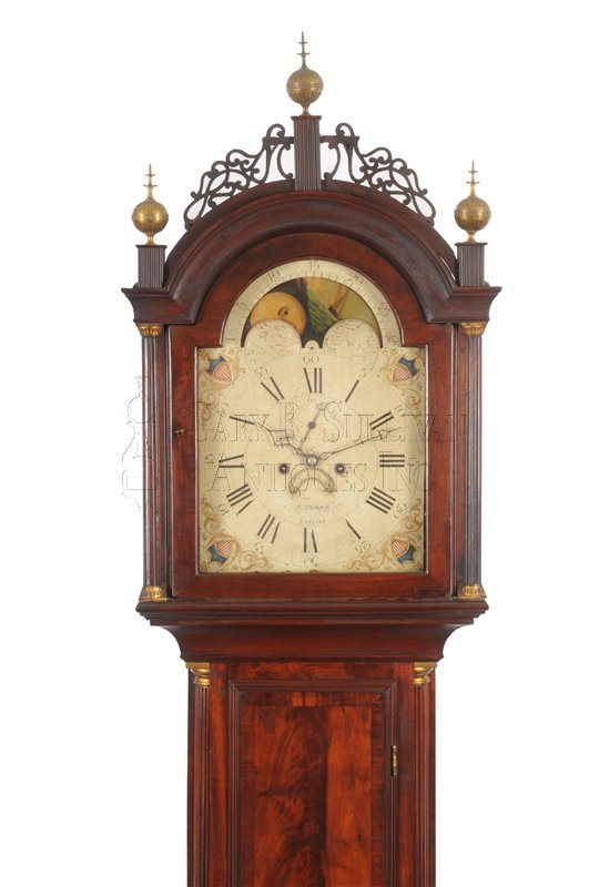Elnathan Taber antique tall clock hood