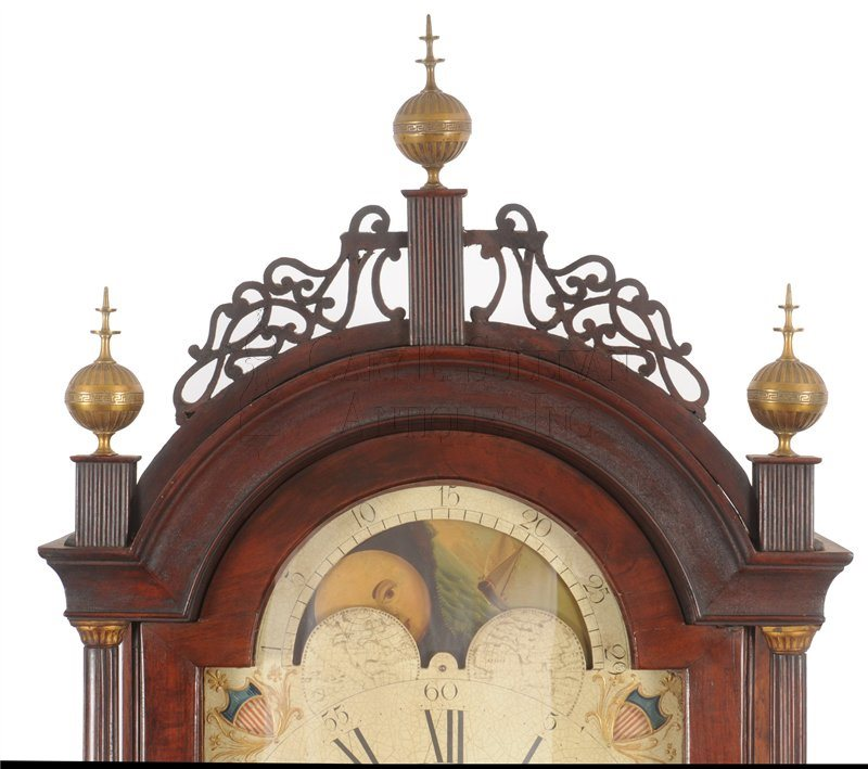 Elnathan Taber antique tall clock crest