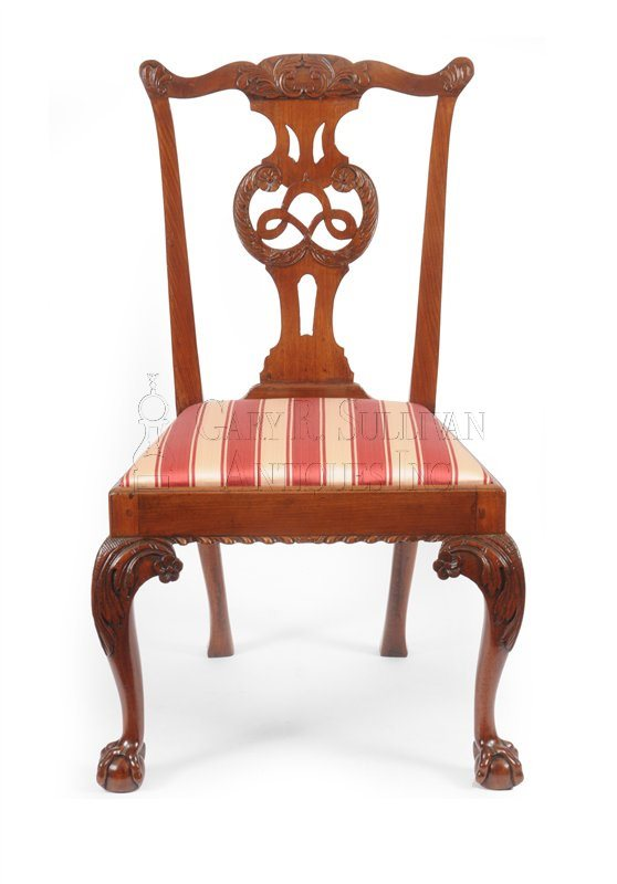 8 Chippendale dining chairs side