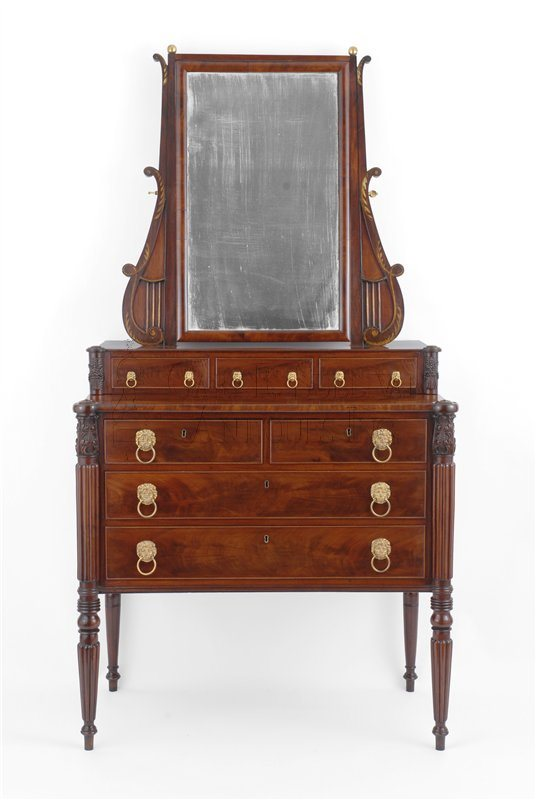 antique Appleton Sheraton mirror-back bureau