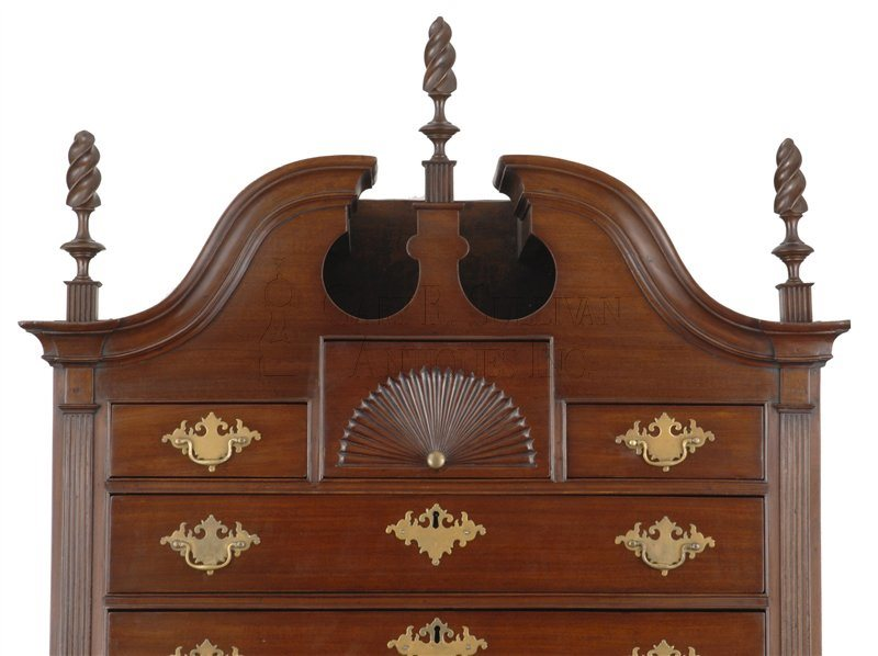 antique Chippendale chest on chest detail