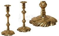 antique Queen Anne brass candlesticks