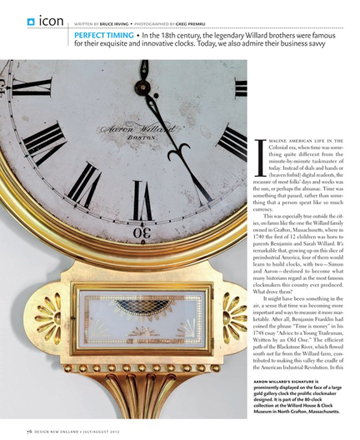 Willard family of clockmakers article in Design New England