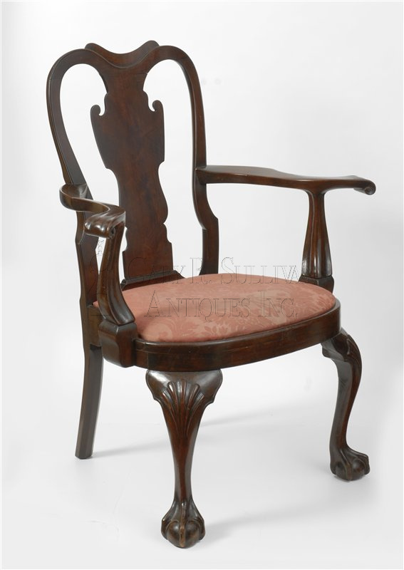 antique Chippendale armchair - Queen Anne Armchair, Philadelphia, Pa - Furniture 10033 : Gary
