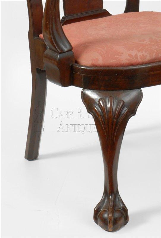 antique chippendale armchair detail
