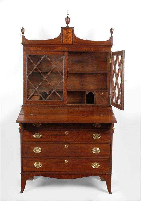 antique Federal desk and bookcase detail - Federal Desk & Bookcase, Salem, Mass - Clocks 009027 : Gary