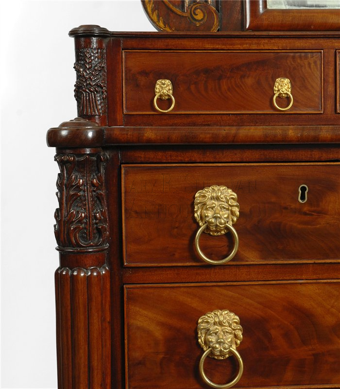 Marvelous Antique Appleton Sheraton Mirror Back Bureau Detail