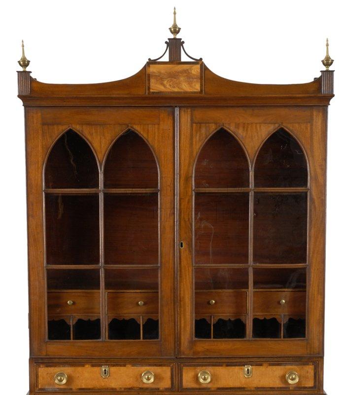 antique Federal desk and bookcase detail - Federal Desk & Bookcase, Portalnd, Maine - Furniture 010089 : Gary