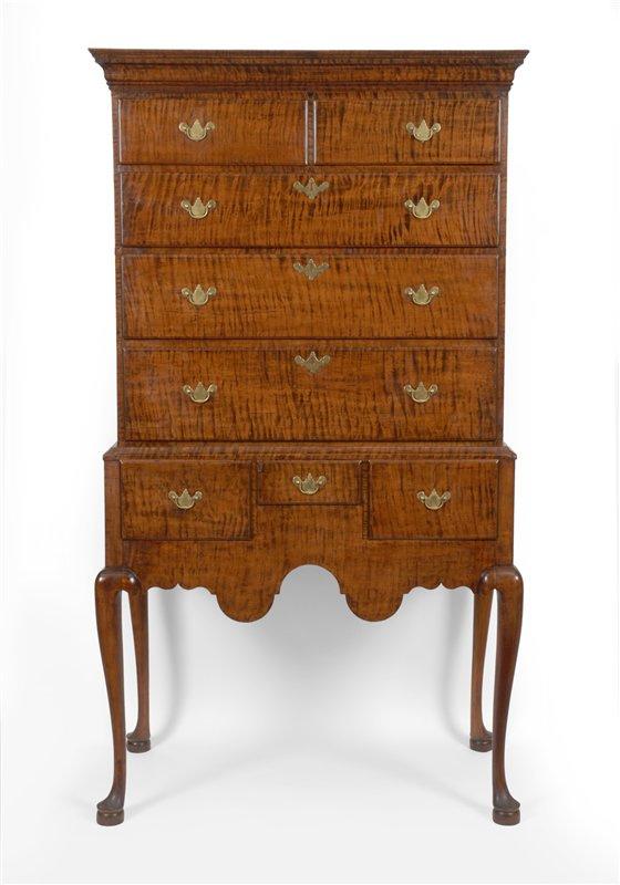 Queen Anne antique highboy - Queen Anne Tiger Maple Highboy, Southern NH - Furniture 10094 : Gary