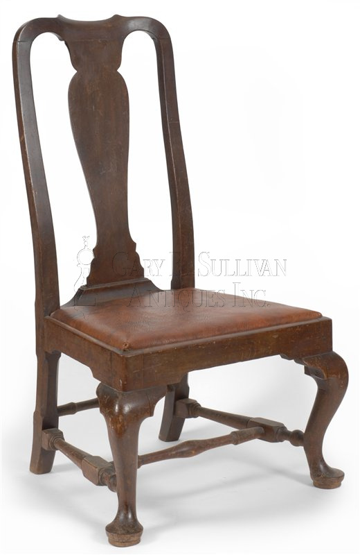 antique Queen Anne slipper chair - Queen Anne Slipper Chair, Boston, Mass - Furniture 010117 : Gary