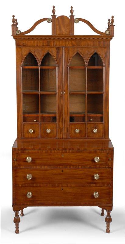 antique Sheraton desk and bookcase - Sheraton Desk & Bookcase, Coastal, Maine - Clocks 10122 : Gary