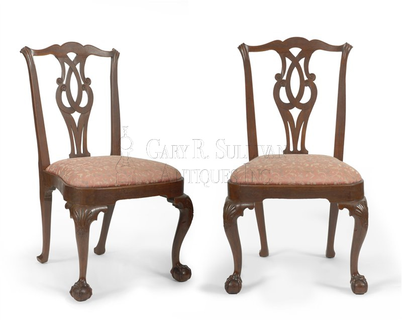 Pair of antique Chippendale dining chairs - Pair Of Early Chippendale Dining Chairs, Boston, Mass - Clocks 11027
