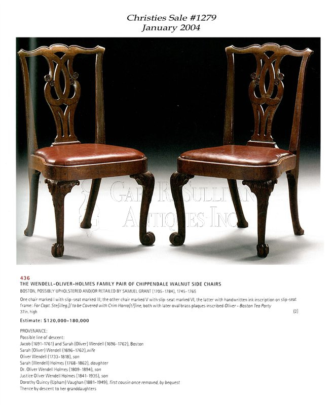 Pair of antique Chippendale dining chairs Christies 2004 - Pair Of Early Chippendale Dining Chairs, Boston, Mass - Clocks 11027