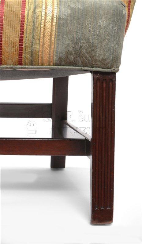 chippendale antique wingback chair leg detail