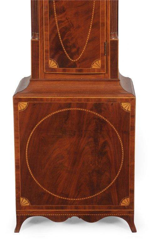 Inlaid New Jersey grandfather clock base - John Hall Dated Tall Clock (New Brunswick, NJ) - Clocks 13014