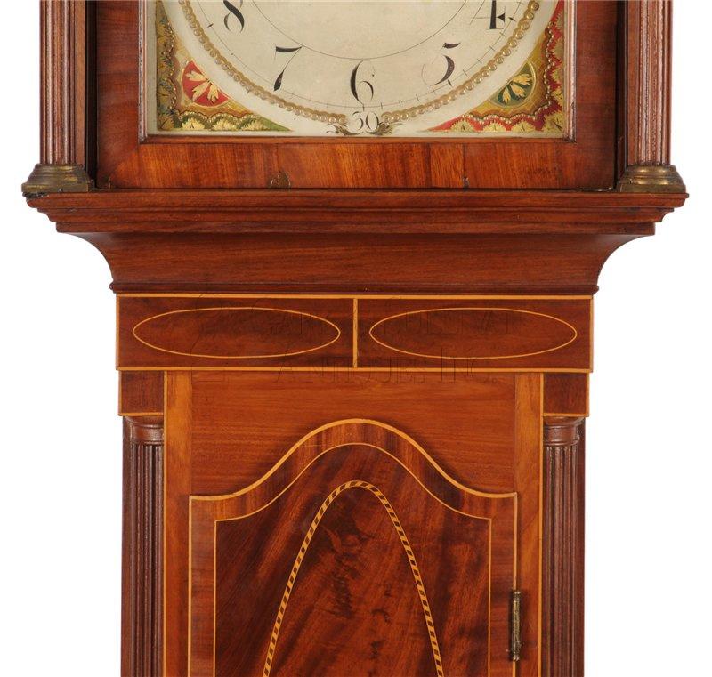 Inlaid New Jersey grandfather clock throat - John Hall Dated Tall Clock (New Brunswick, NJ) - Clocks 13014 : Gary