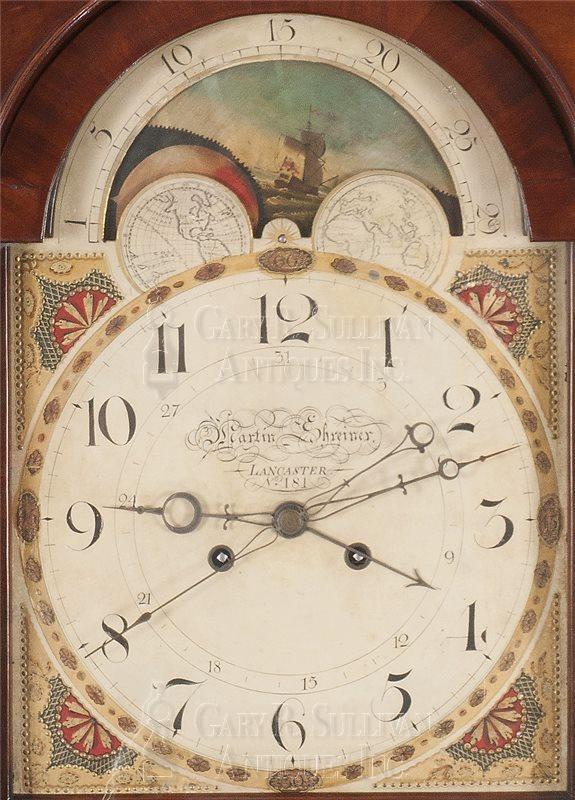 Martin Shreiner tall clock dial - Martin Shreiner Tall Clock No. 181 (Lancaster, PA) - Clocks 15087
